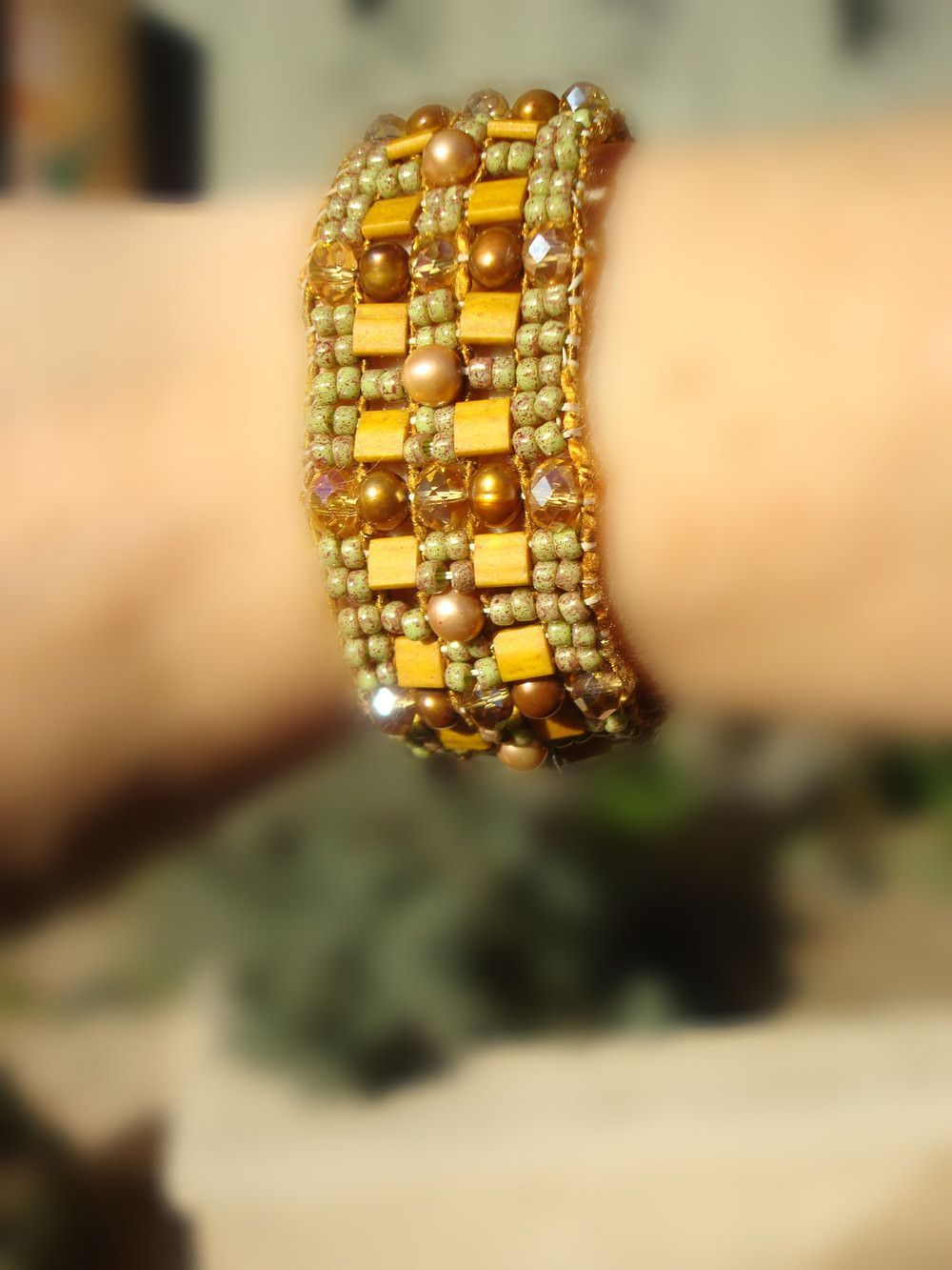 Woven Beaded Bracelet. Beautiful Golden Yellows and Bronzes, Pearls, Crystals, Glass Beads