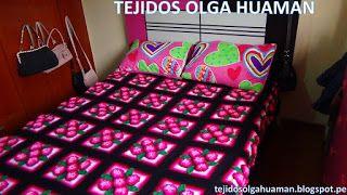 Tejidos Olga Huaman Colcha Tejido A Crochet 5 Flores Cuadrados