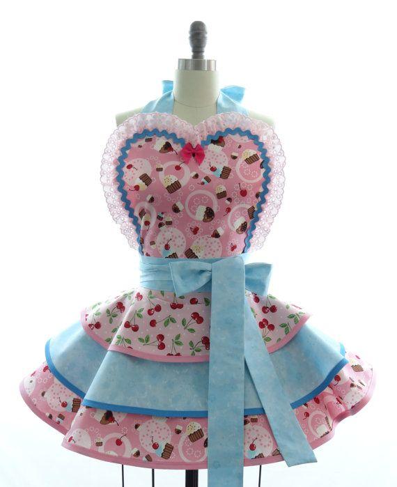 Delantal retro   rosa cereza cupcakes sexy mujer delantales ...