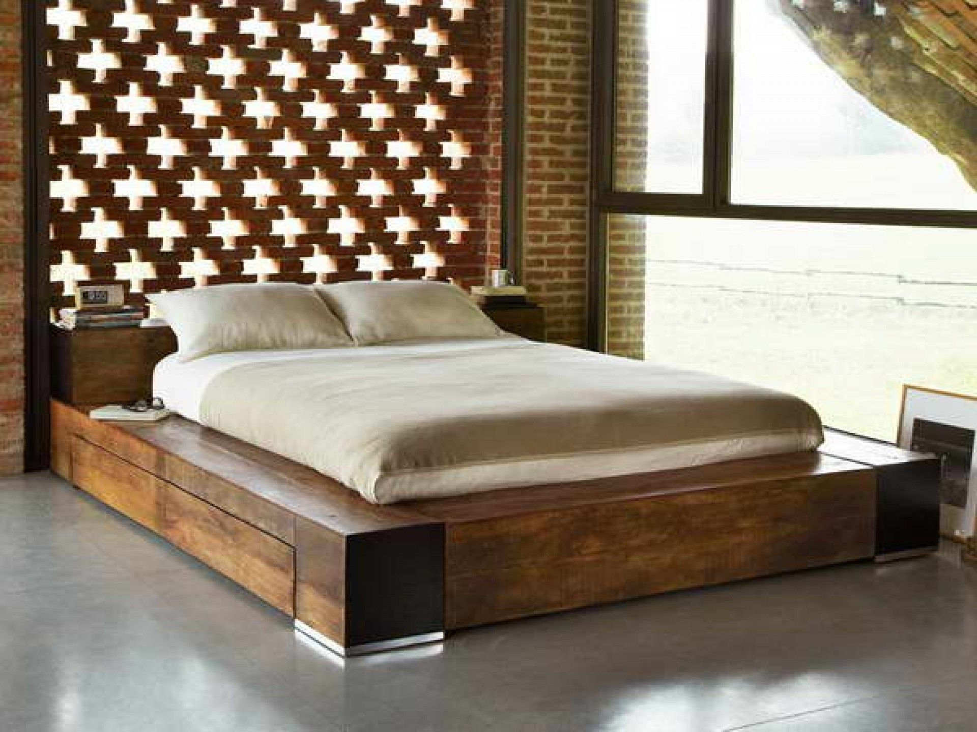 Design Wood Bed Frame brown lacquer teak wood bed frame having double storage drawer underneath on gray ceramic tiled floor