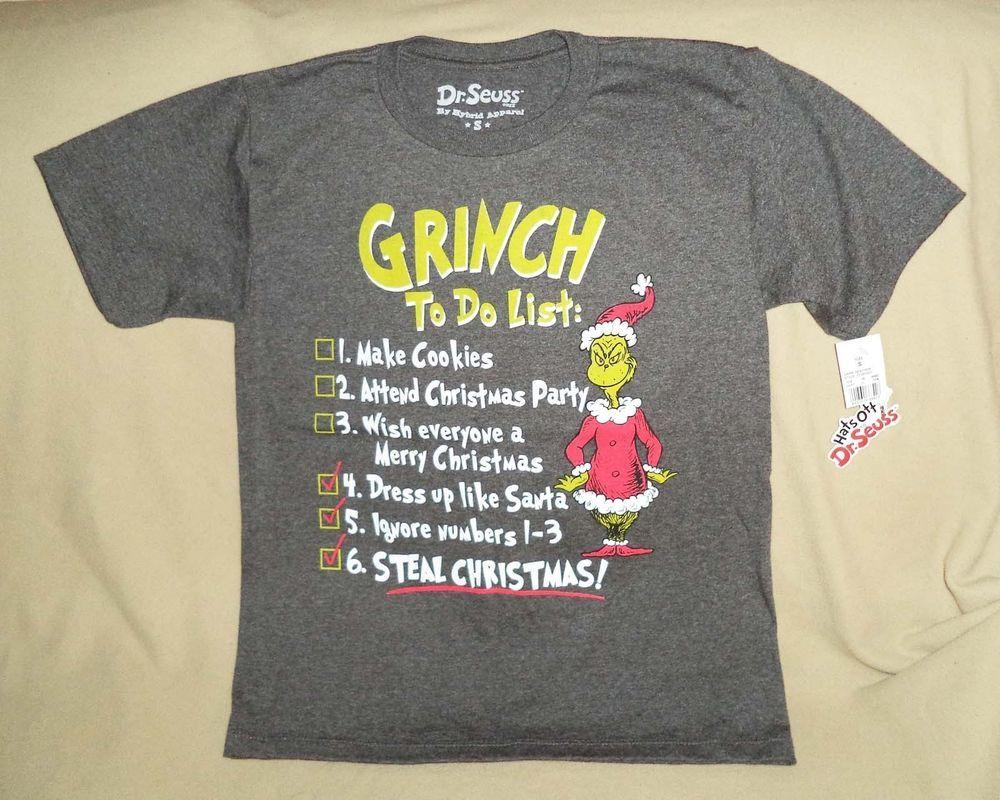 30e2df10e Dr Seuss How The Grinch Stole Christmas To Do List Youth Boys T-shirt SZ S  or M #HybridApparel
