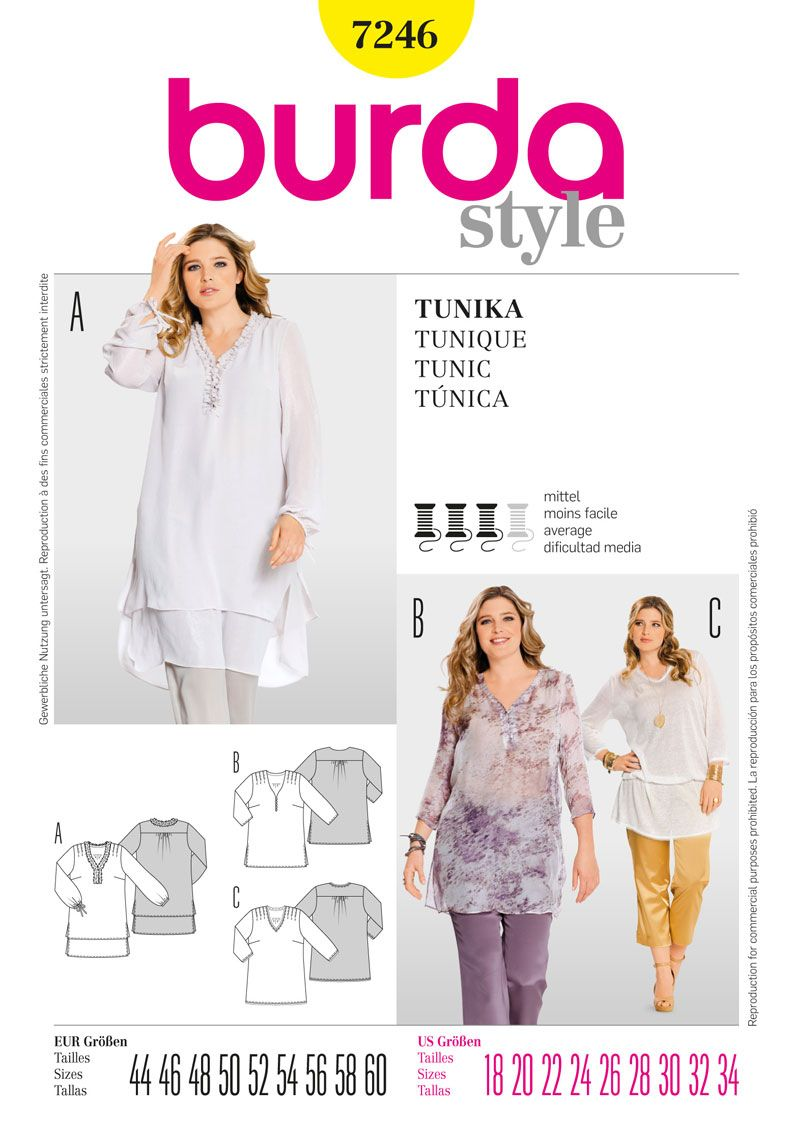 Burda Ladies Sewing Pattern 7246 - Tunic Sizes: 18-34