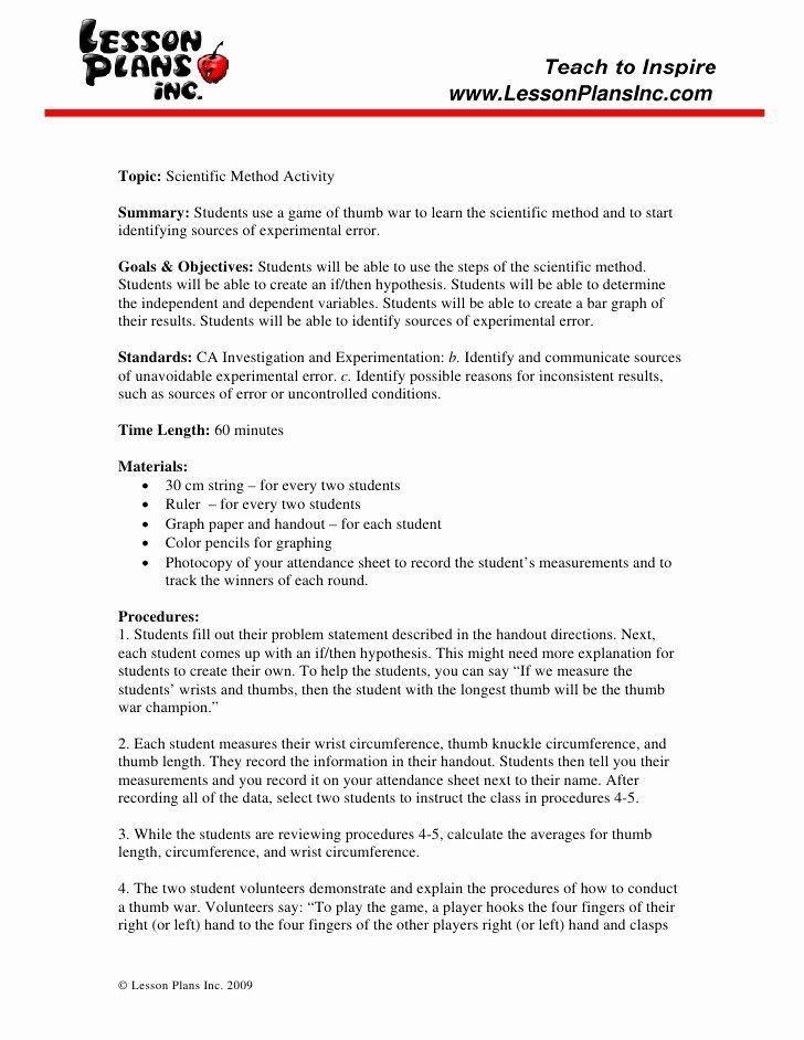 Scientific Method Story Worksheet Answers 50 Scientific