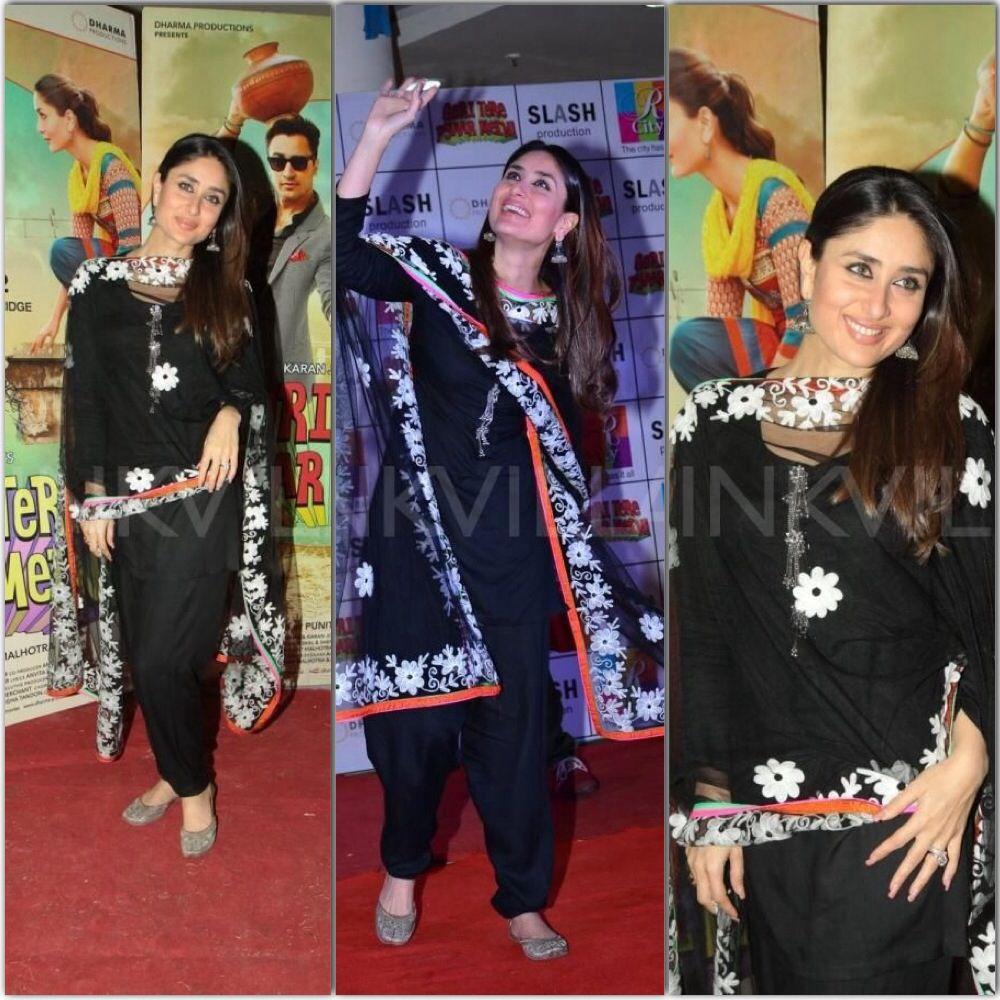 Kareena Kapoor In Black Punjabi Suit  Bollywood Suits