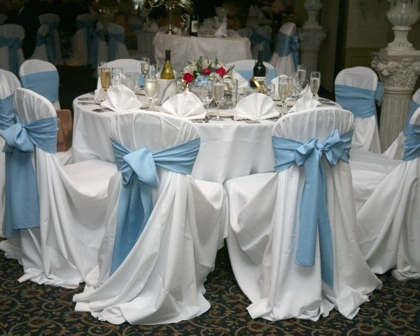 baby blue chair covers ivory accent simple white and tables the with sash is a great way to add that pop of color your