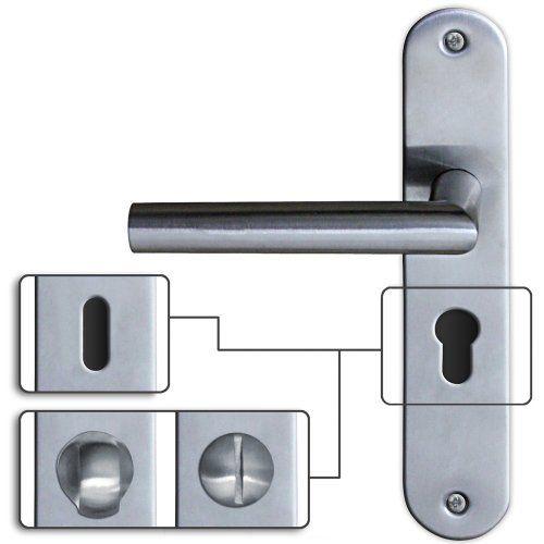 2 poignées de porte sur plaque longue u2013 PZ  rosace à cylindre