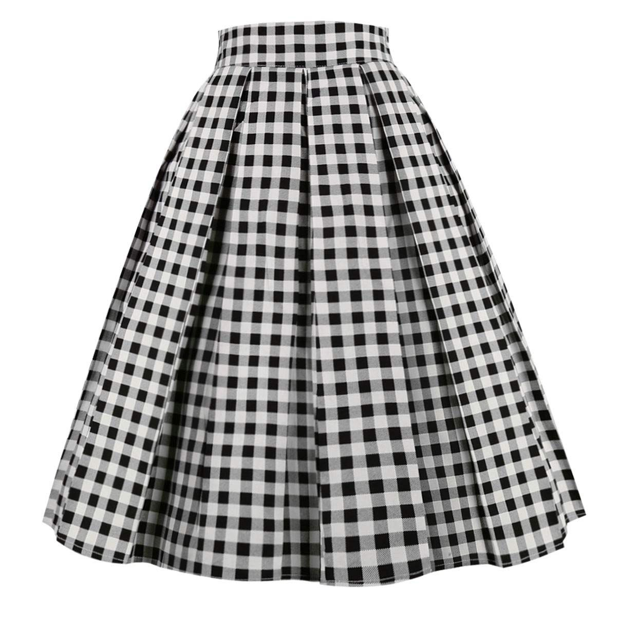 Prepretty Womens 50s Pleated Floral Polka Dots Vintage A-line Printed Flared Pockets Midi Skirt