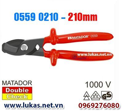 Kìm cắt cáp cách điện (VDE) 210mm - 1000V, 0559 0210, Matador - Germany