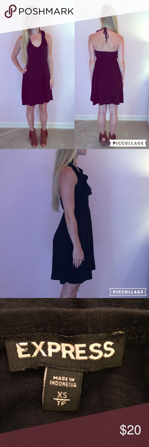 Black Express Dress   Express dresses, Black ruffle and Neckline