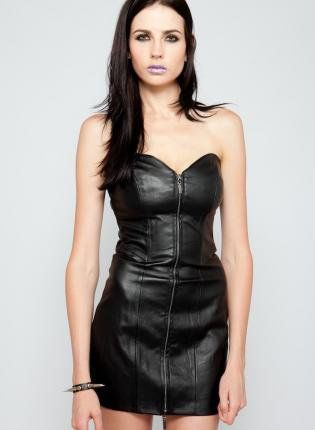 Strapless Black Leather Dress with Full