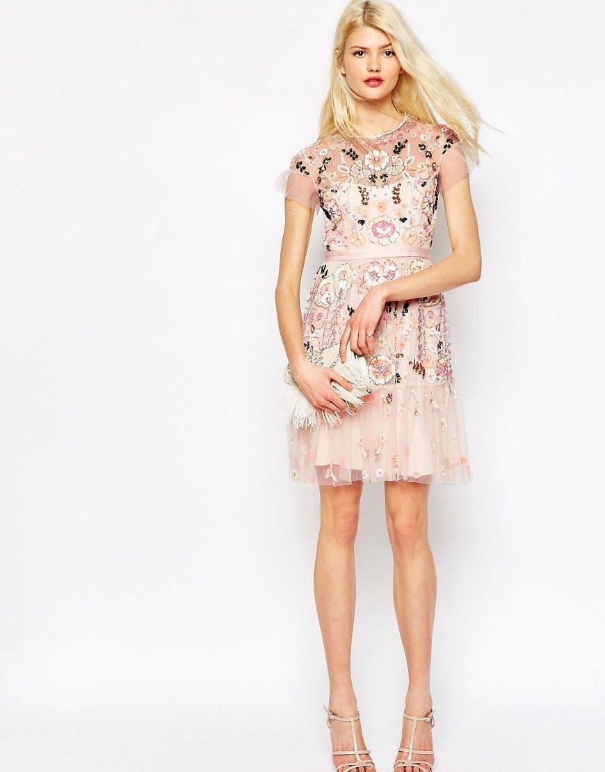 Image of needle u thread floral tiered embellished dress fashion