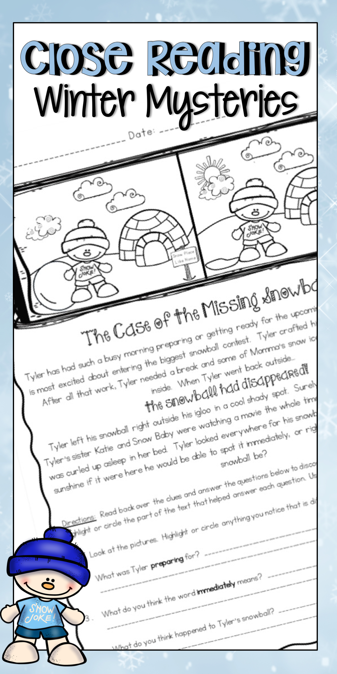 - Close Reading Passages Winter Mysteries For Reading Comprehension