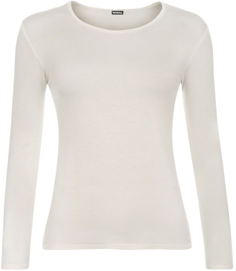 c80b2c53e1a New Womens Long Sleeve Round Neck Plain Basic Ladies Stretch T-Shirt Top 8-