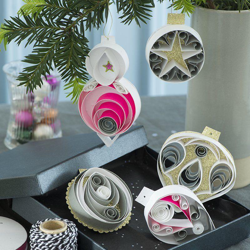 Des boules de no l en papier roul holiday ornaments to - Decoration boule de noel en polystyrene ...