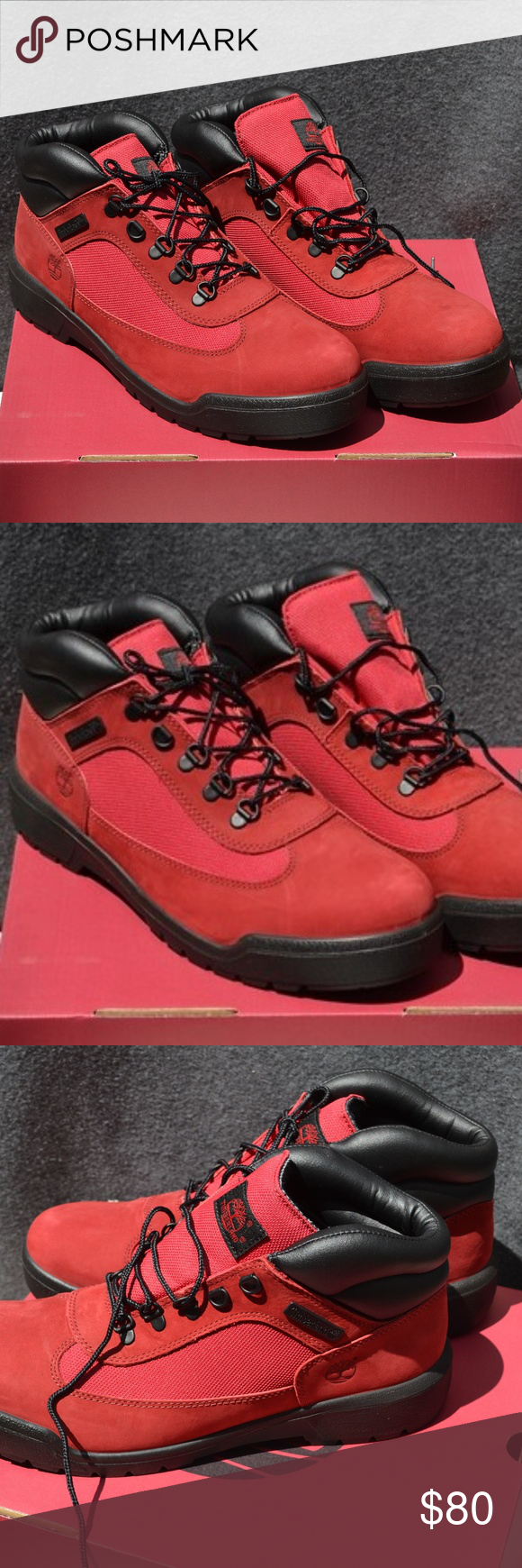 Timberland Field Red Black Boots size