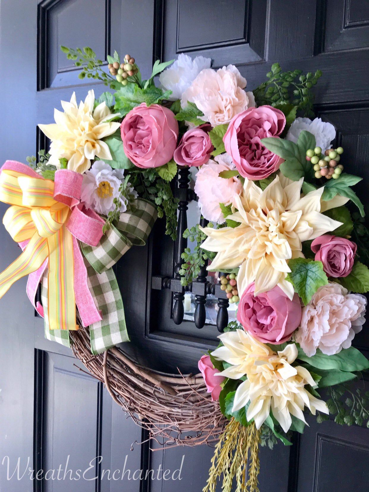 Spring Wreath Front Door Easter Wreath Floral Wreath Pink Yellow Wreath Pastel Wreath Rose Peony Wreath Spring Decor Housewarming Free Ship In 2020 With Images Spring Front Door Wreaths Pastel Wreath