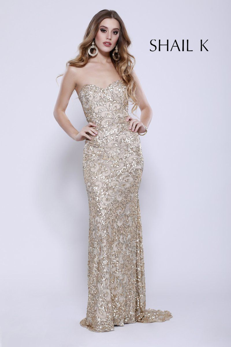 Strapless Fully Sequin Gold Red Carpet Prom Dress 12124 | Pinterest ...