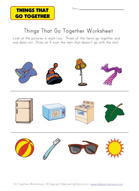 go togethers worksheet for kids Speech Therapy Information