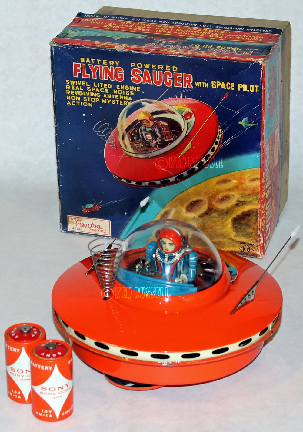 1961 CRAGSTAN KO FLYING SAUCER WITH SPACE PILOT UFO MADE IN JAPAN ブリキ