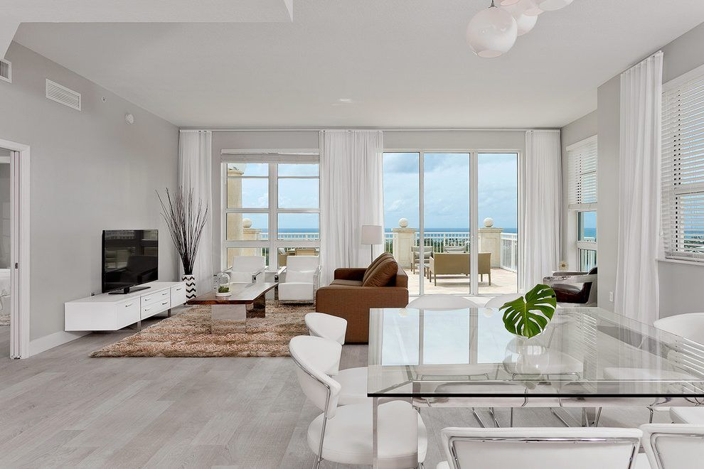 Grey Hardwood Floors Living Room Contemporary With White