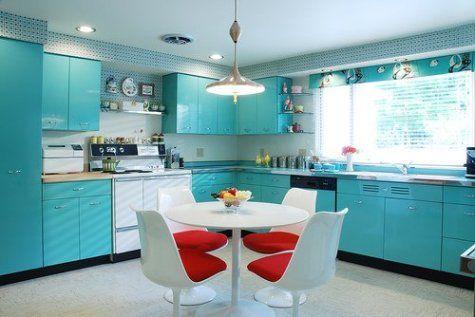 Metal Kitchen Cabinets Cozinha Retro, Metal Cabinets Kitchen