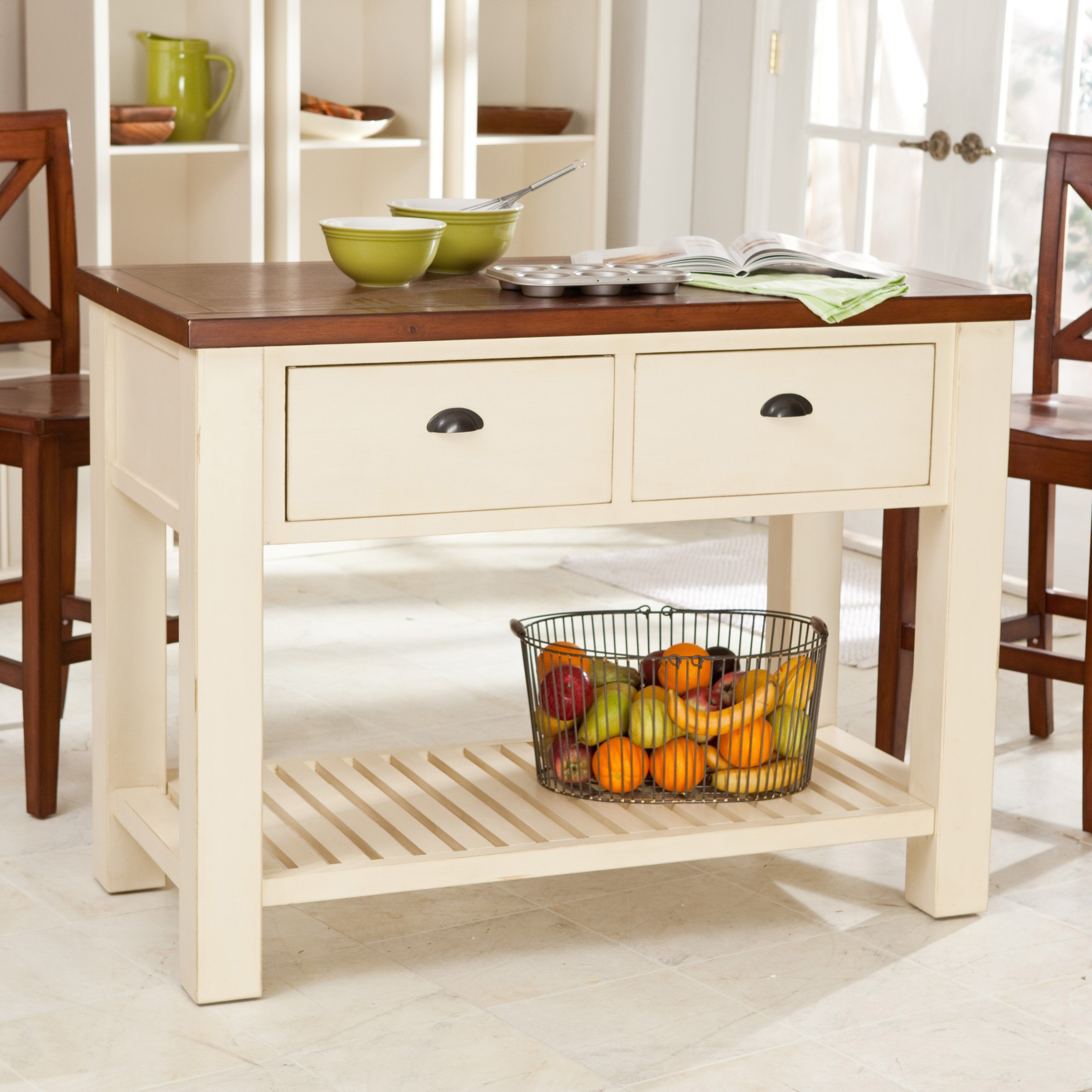Mobile kitchen island  Belham Living Carlton Kitchen Island with PassThrough Drawers