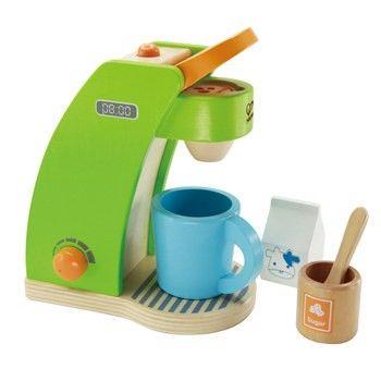 cafetera de juguete de madera para cocinas de niños