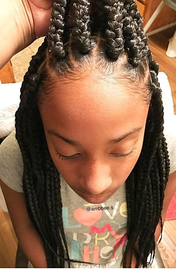 Pre Teen Virgins: Close Up Of Big Box Braids On A Pre-teen