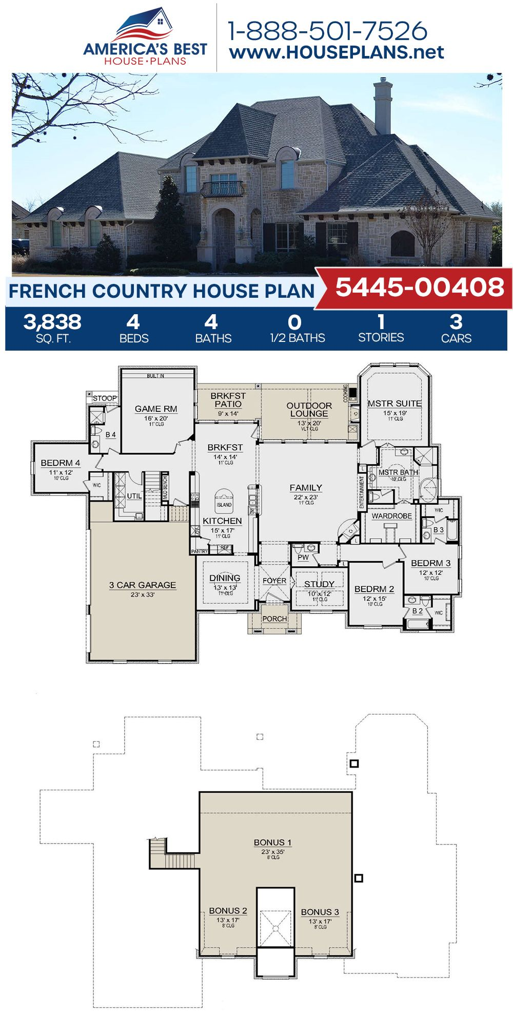 House Plan 5445 00408 French Country Plan 3 838 Square Feet 4 Bedrooms 4 Bathrooms French Country House Plans French Country House Country House Plan
