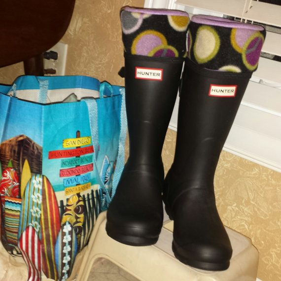 Short and Tall Rain Boot Liners, Fleece, Geometric Circle Cuff ...