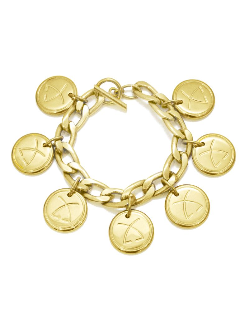 Fun vintage charm bracelet with Leonard logo on each hanging charm. In good vintage condition.