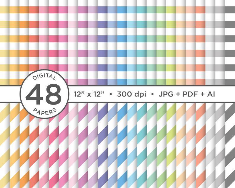 Rainbow Pastel Seamless Stripes Digital Paper Jpg Pdf Vector