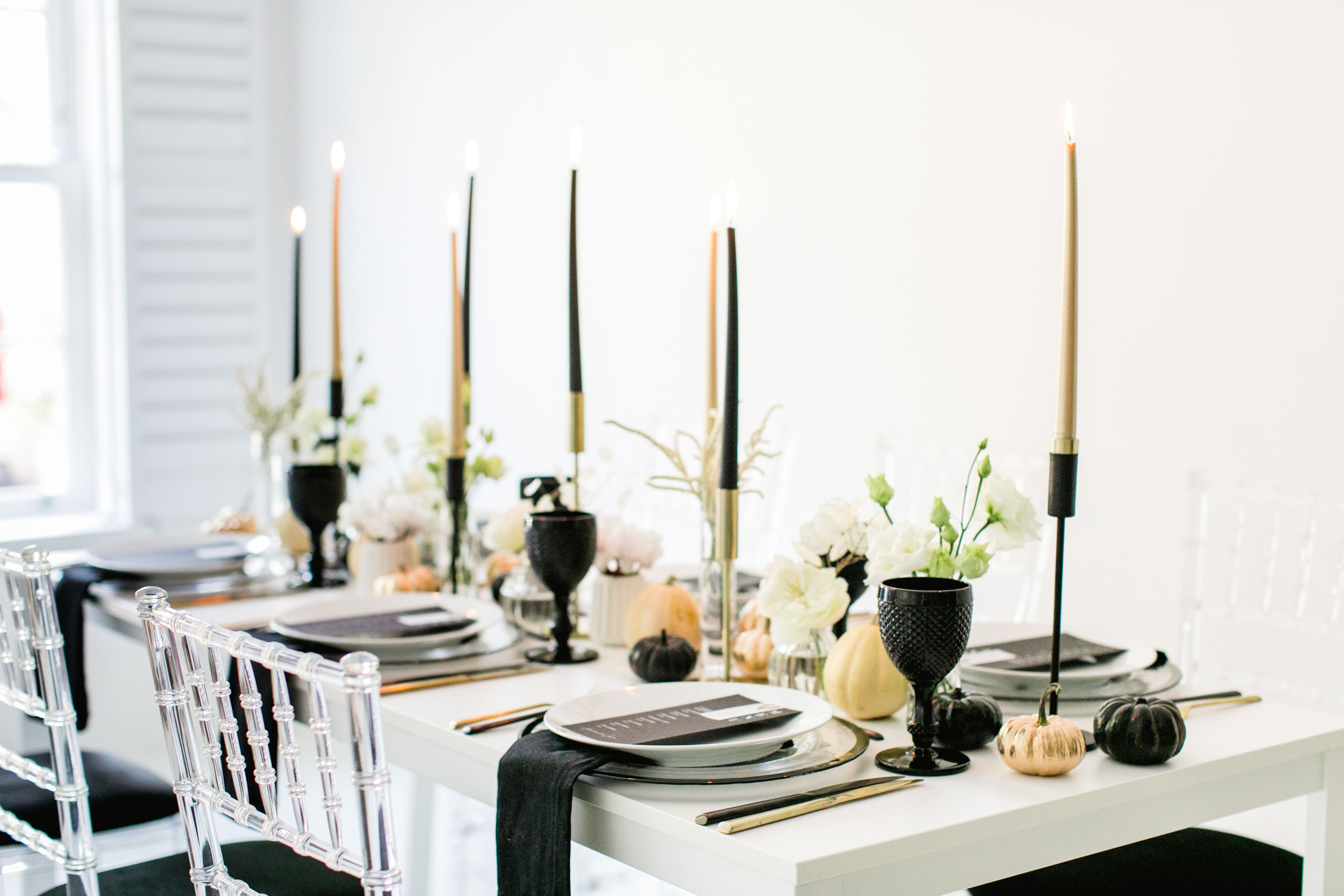 Stylish Black And Gold Halloween Table Setting For A Chic All