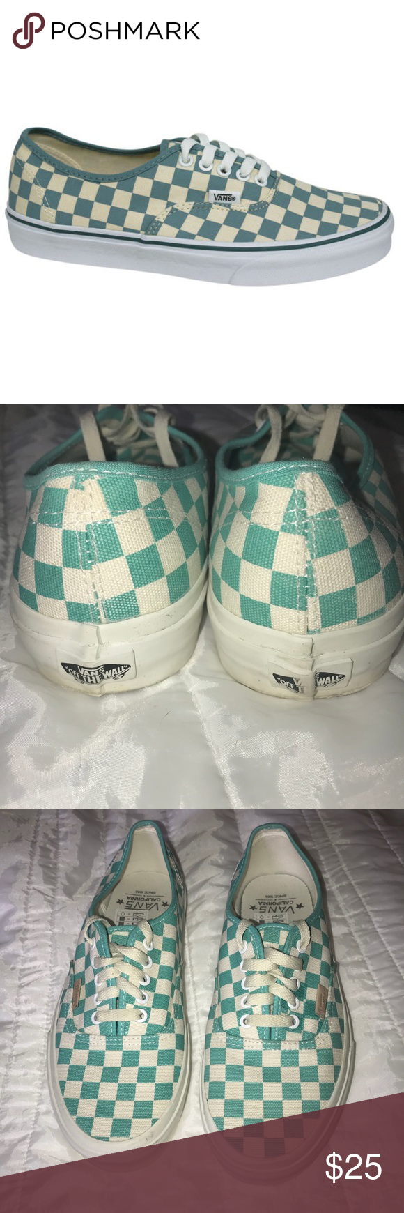 6bfd0f26ac9 Unisex Checkerboard Vans Green Teal Aqua M9.5 W11 Very good condition Vans.  Classic checkerboard and lace up. These were worn as men s