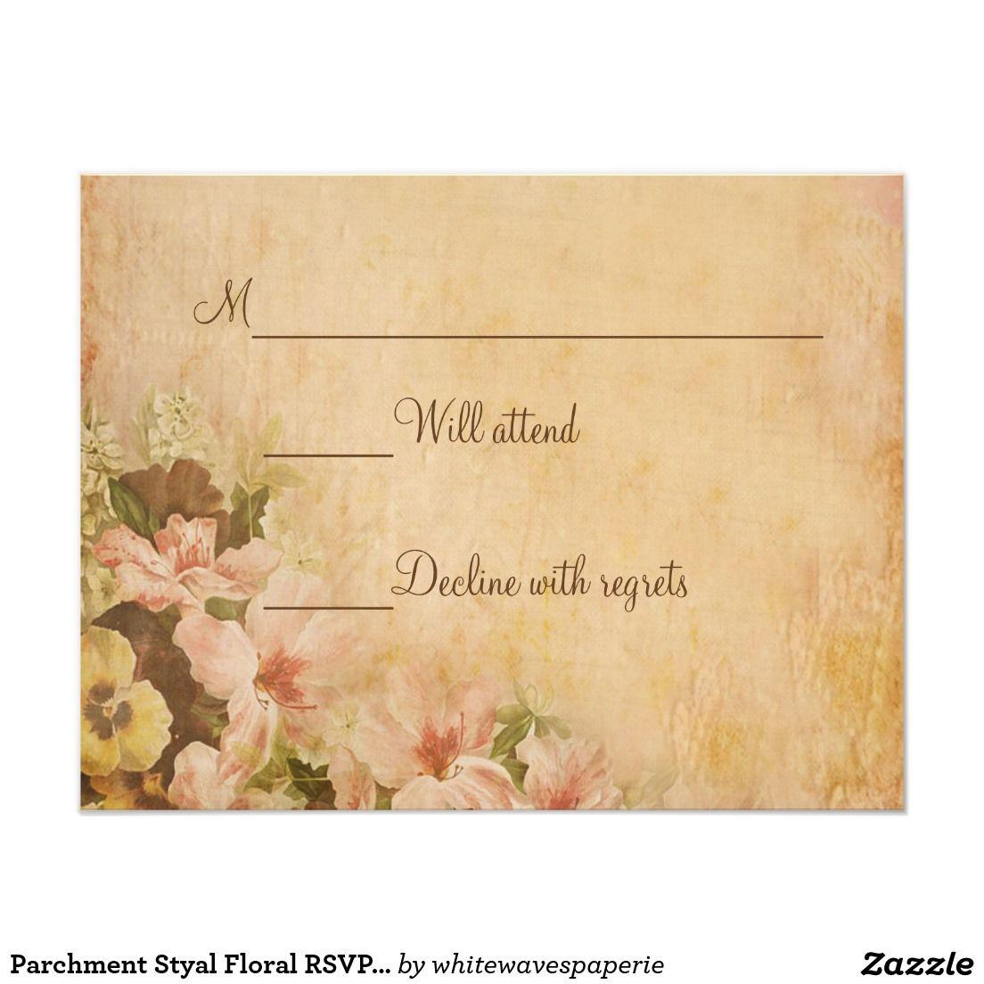 Parchment Styal Floral RSVP Cards