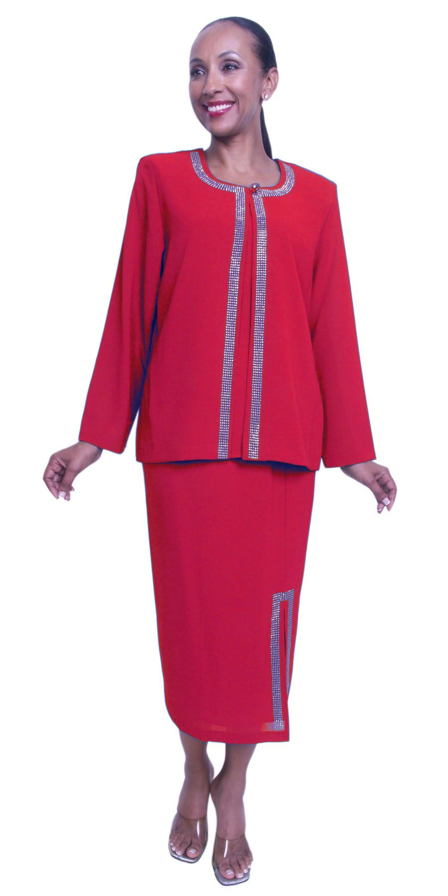 Red Plus Size 3 Piece Dress Semi Formal Tea Length With