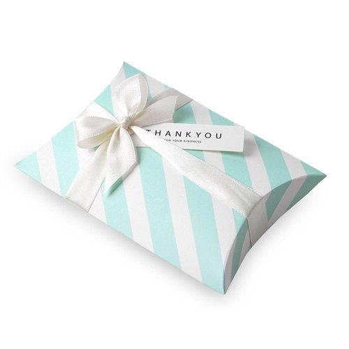6 Baby Blue Stripe Pillow Boxes Gift Box Small Gift Box Small Pillow