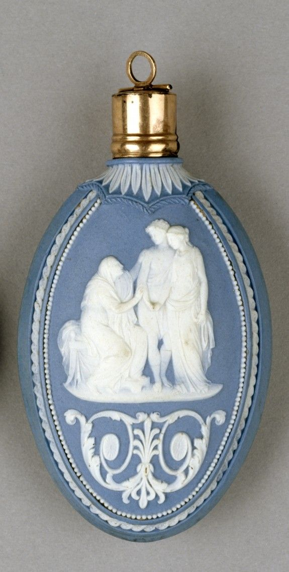 Scent Bottle with Mythological Scenes - Josiah Wedgwood & Sons (English, 1750-Present Artist)   Blue Jasperware, Gold   c. Late 18th Century  (Neoclassical)