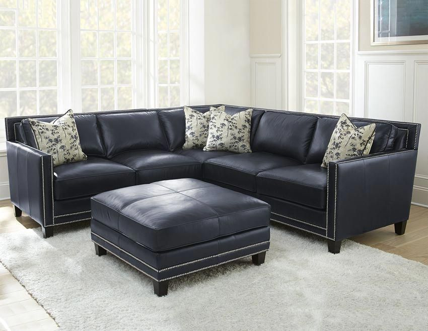 Hendrix Leather Sectional Blue Leather Couch Blue Leather Sofa
