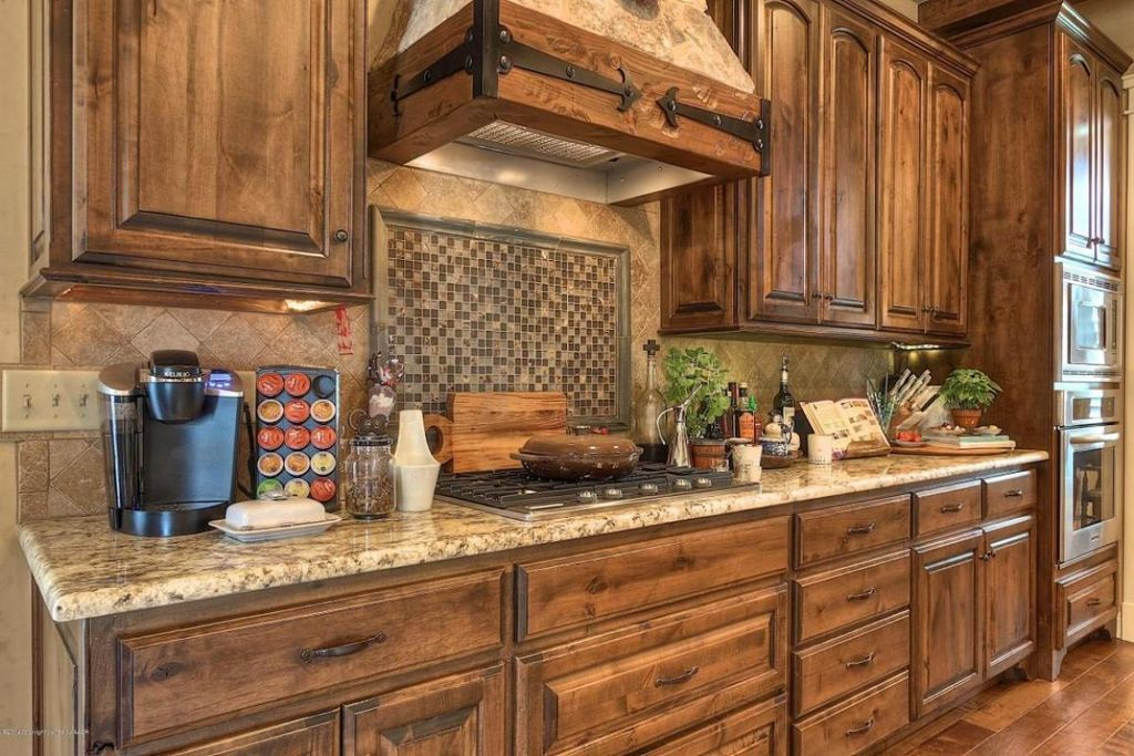 Gentil Craftsman Kitchen With Amber Yellow Granite Countertop, Hardwood Floors,  Custom Hood, One Wall, High Ceiling, Stone Tile