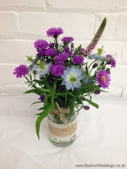 Table Centrepieces In A Wild Rustic Country Style With Aster