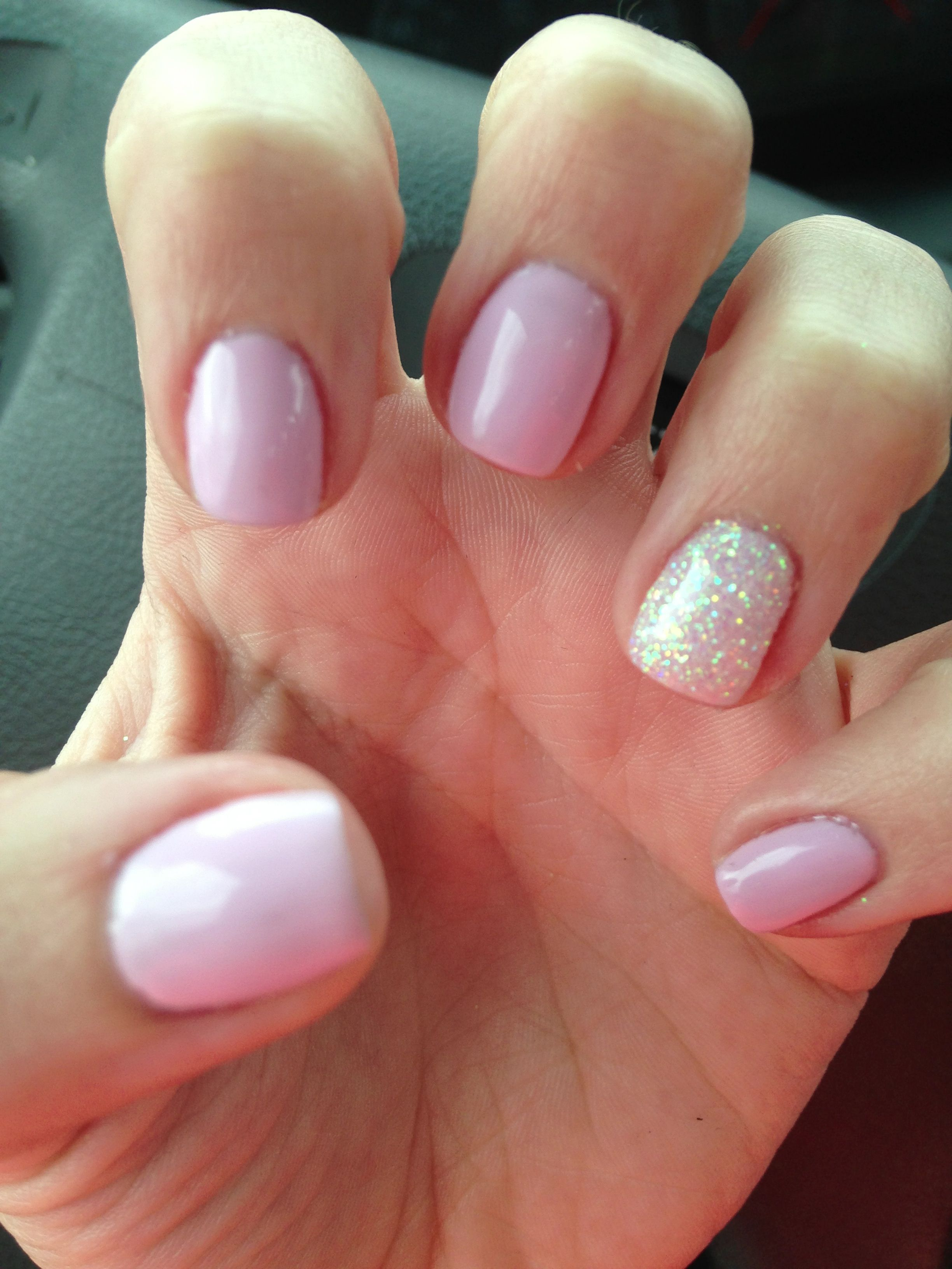 Cake pop pink shellac with white glitter ascent nail ...