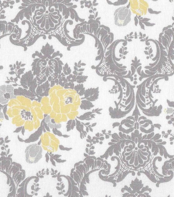"""Home Essentials 45"""" Print Fabric-Yellow/Gray Damask"""