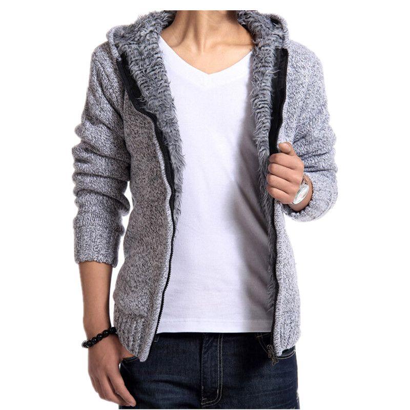Hot Sale Fashion men's sweaters velvet warm hooded cardigan ...