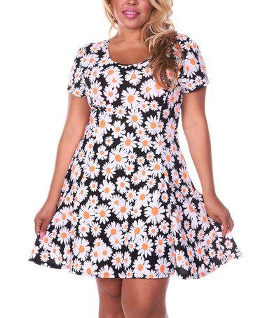 5da0eb6cb5e Simple tossed layout Look at this  zulilyfind! Black   White Daisy Field  Scoop Neck Dress - Plus  zulilyfinds