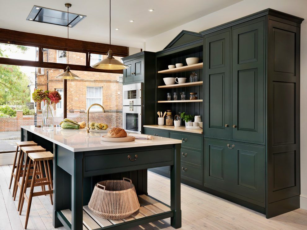 Kiichen Island Kitchen Traditional With Wall Mounted Stacked Ovens Dark  Green Kitchen Cabinets