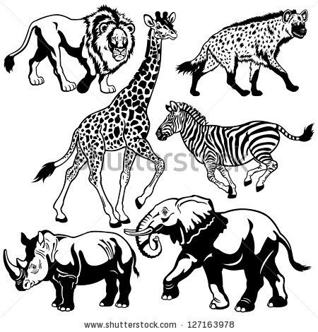 28+ Animals clipart black and white images info