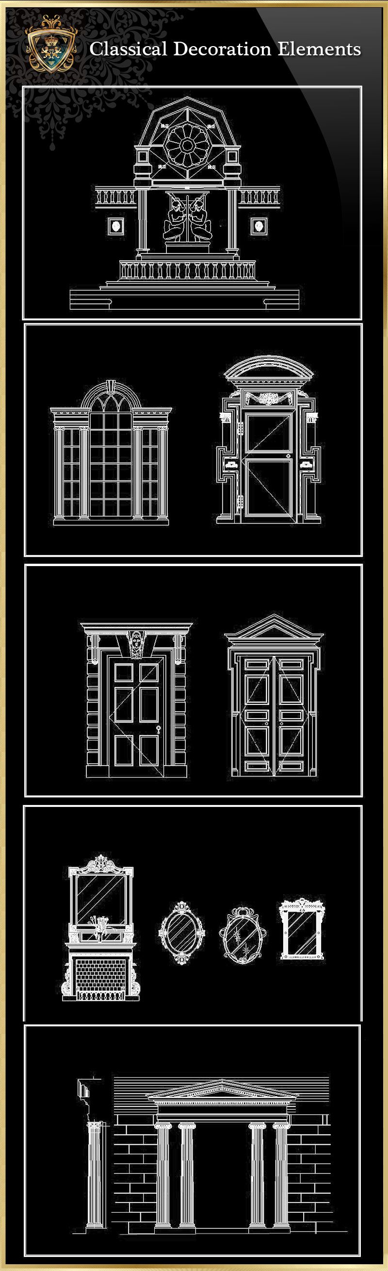 ☆【Classical Decoration Elements 03】Download Luxury Architectural Design CAD  Drawings  Over 20000+ High Quality CAD Blocks And Drawings Download!