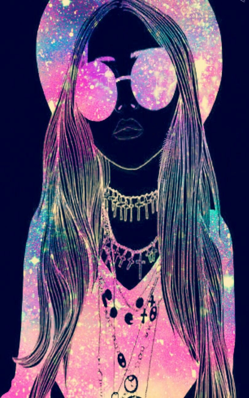 """Hipster girl"" galaxy wallpaper I created! Hipster"