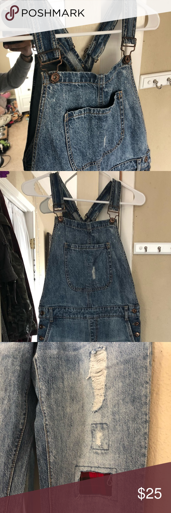 f0754f96264 Forever 21 Distressed Denim Overalls Distressed blue denim W plaid patches  New condition. Forever 21 Jeans Overalls